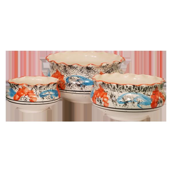 Ceramic 3 Pcs Set Flat Pots