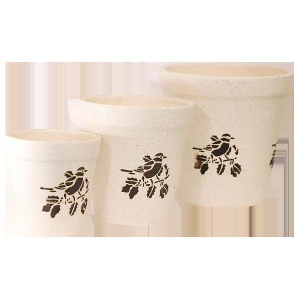 Ceramic 3 Pcs Set White 4,6,8 Inches