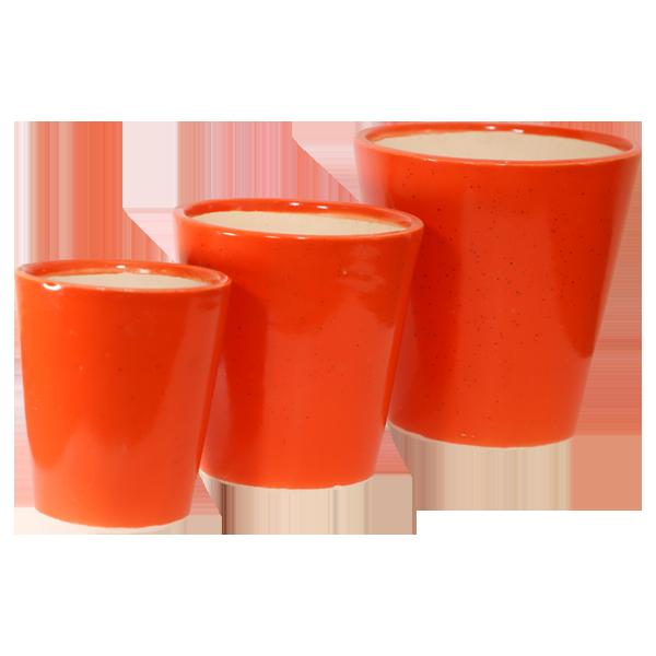 Ceramic Orange 3 Pcs set 4,6,8 Inches